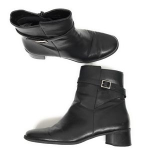 Naturalizer Black Ankle Boots w/ Buckle 12W Wide